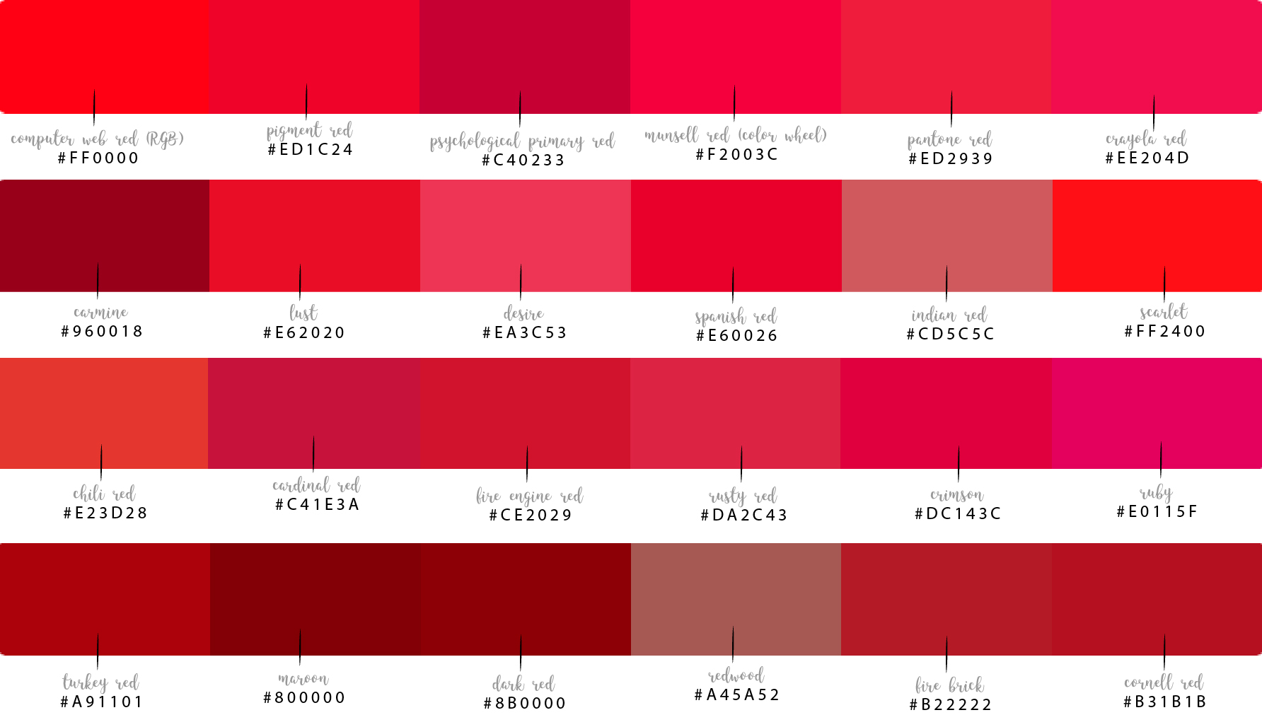 Shades Of Red Pink Color Paint Diy Idea
